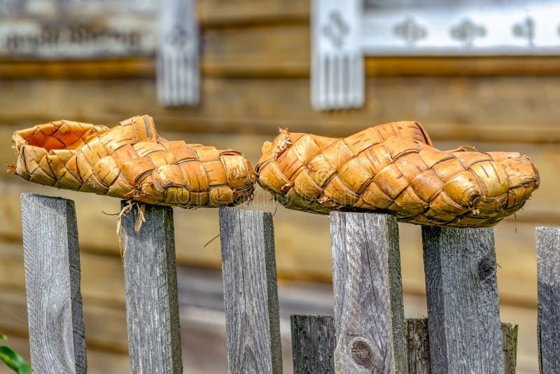 Caída de los zapatos de la estopa del abedul en la cerca imagen de archivo libre de regalías