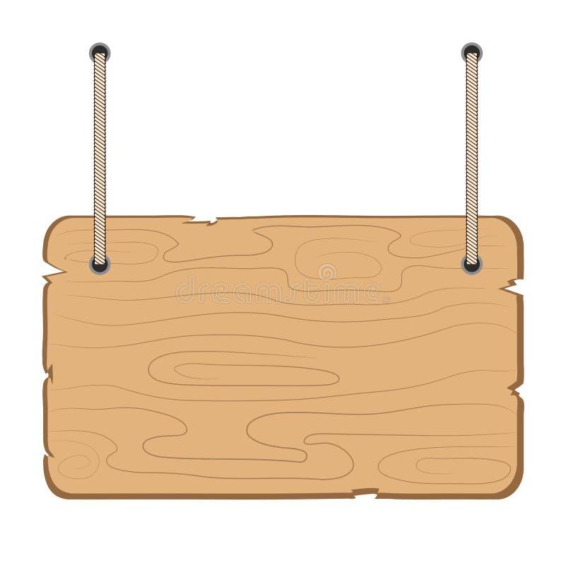 Caída de madera del tablero de la información en la cuerda en el ejemplo blanco, común del vector libre illustration