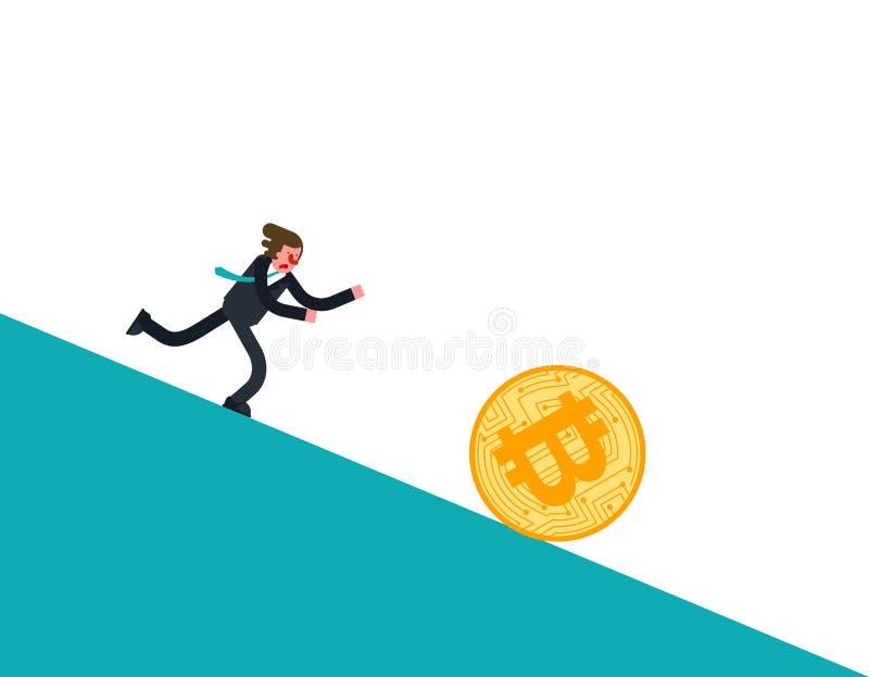 Caída de precios de Bitcoin Funcionamiento del hombre de negocios para la moneda El precio de Cryptocurrency retrocede Concepto d ilustración del vector