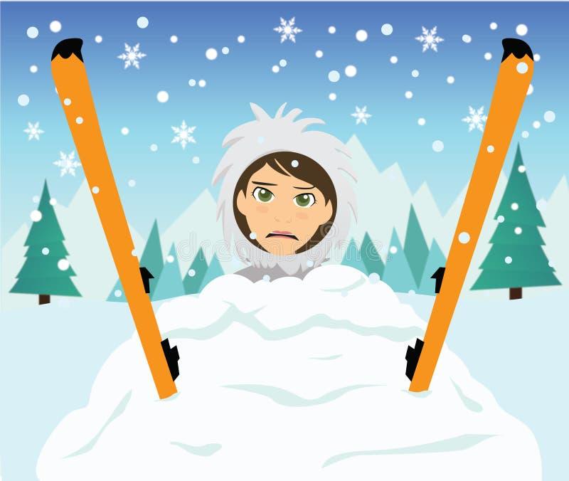 Caída del esquí stock de ilustración