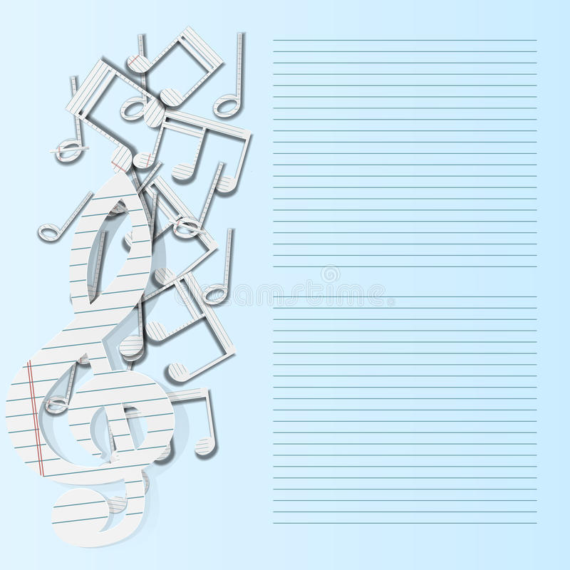 Caída del papel de notas musicales del fondo de la música libre illustration