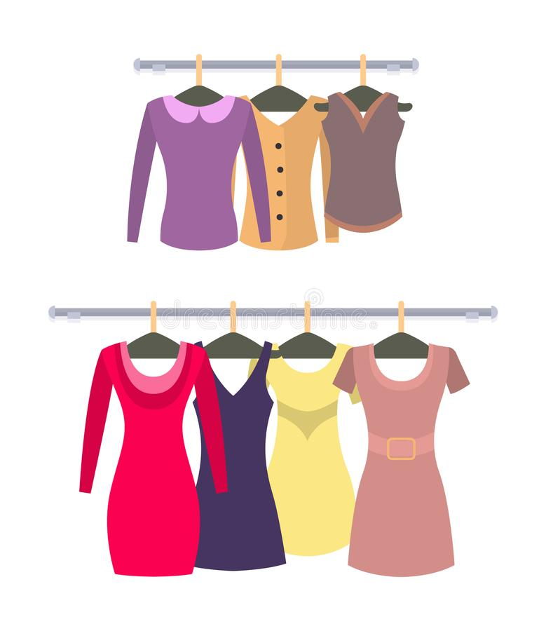 Caída elegante femenina de los tops y de los vestidos en los estantes fijados libre illustration