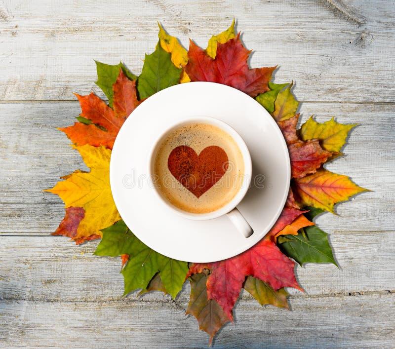 Caída en amor Café y hojas del otoño fotografía de archivo libre de regalías