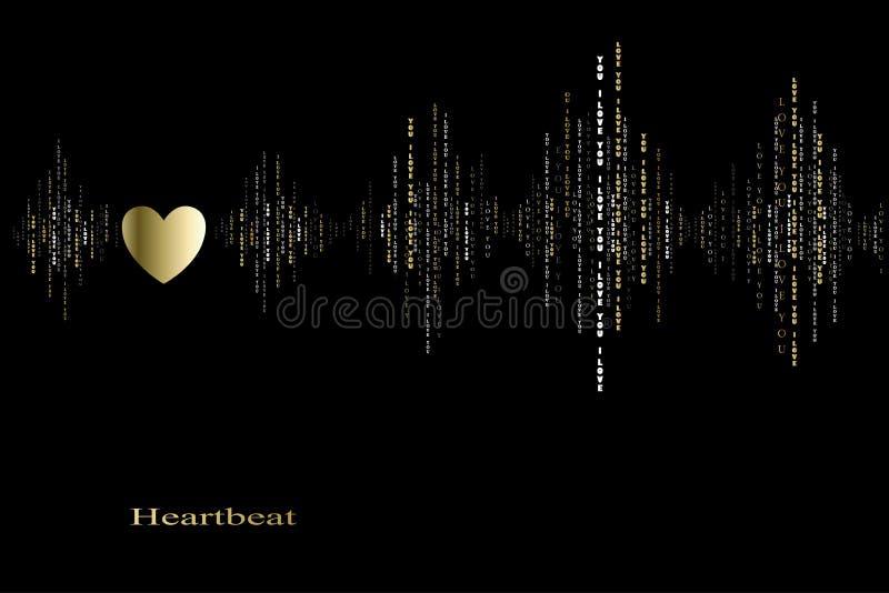 Caída en diseño del cardiograma de los golpes de corazón del amor ilustración del vector
