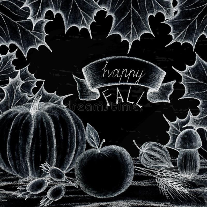 Caída feliz Concepto del día de fiesta del dibujo de la mano del otoño y de la cosecha Las hojas de los árboles son arce, roble C ilustración del vector
