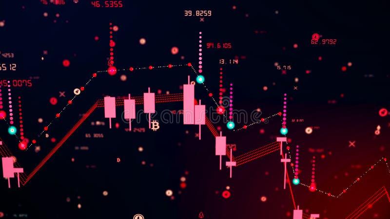Caída financiera del diagrama en mercado ceñudo, mostrando la recesión o la crisis financiera stock de ilustración
