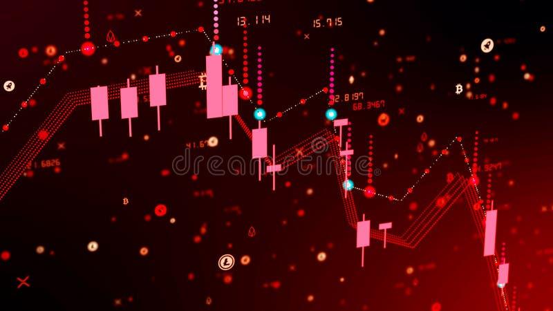 Caída financiera del diagrama en mercado ceñudo, mostrando la recesión o la crisis financiera libre illustration