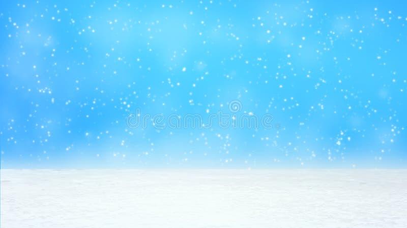 Caída grande de las nieves diversa y tamaño pequeño desde arriba en el fondo blanco de la pendiente de la nieve imagenes de archivo