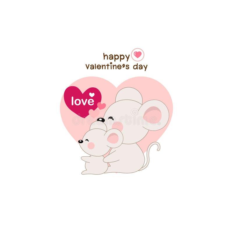 Caída linda de los pares del ratón en amor Corazón verde estilizado de la ilustración del vector libre illustration