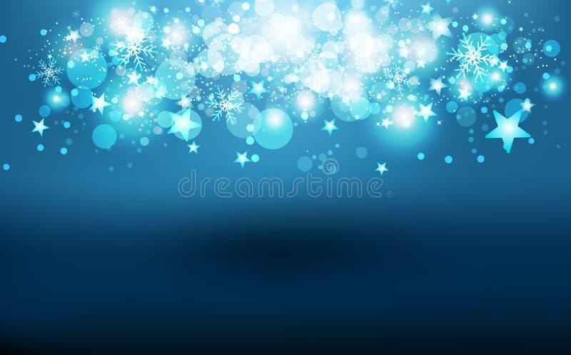 Caída mágica de las estrellas del reflejo que tira, estación del invierno, confeti de la dispersión, copos de nieve y partículas  ilustración del vector
