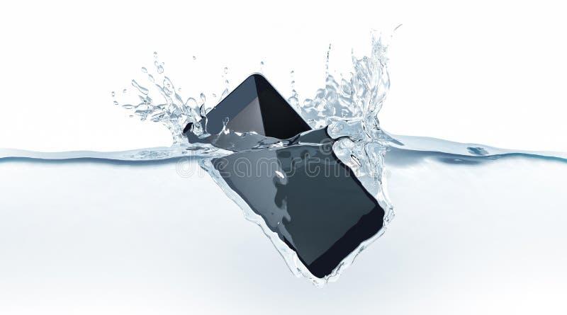 Caída moderna negra del smartphone en agua, representación 3d foto de archivo libre de regalías