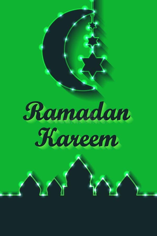 Caída RGB vertical de la estrella del verde seis del limón de Ramadan Kareem stock de ilustración