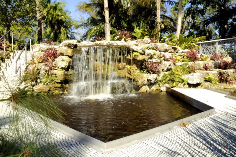 Caídas botánicas y piscina imagen de archivo