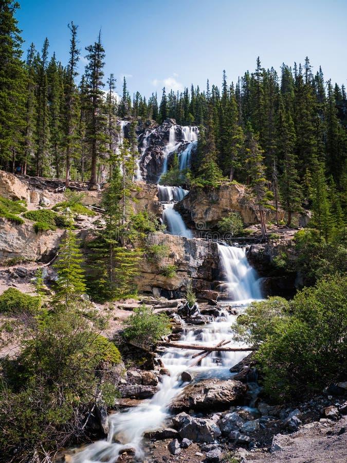 Caídas de la cala del enredo en Jasper National Park, Alberta, Canadá imagenes de archivo