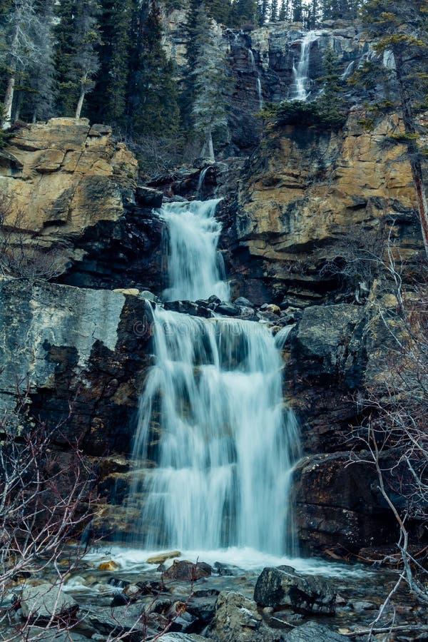Caídas de la cala del enredo, Jasper National Park, Alberta, Canadá fotos de archivo