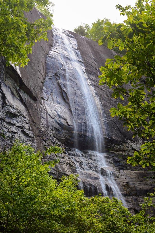 Caídas de la nuez de nuez dura enmarcadas por el follaje de la primavera en el parque de estado de la roca de la chimenea en Caro imagenes de archivo