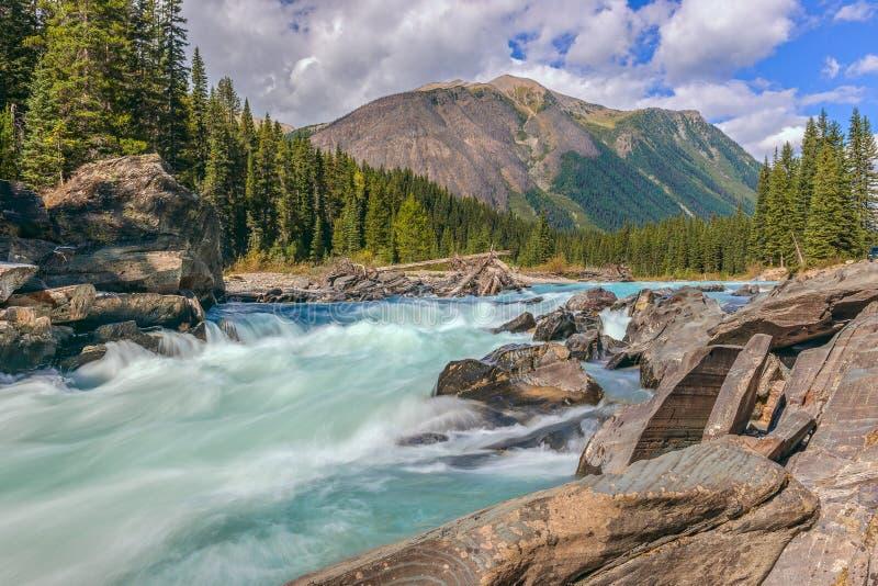 Caídas de Numa y el río bermellón en el parque nacional de Kootenay Columbia Británica canadá foto de archivo