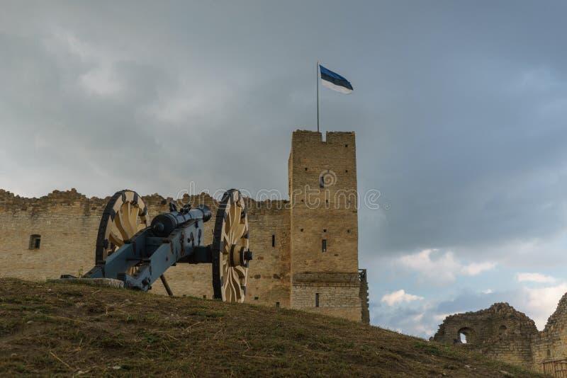 Cañón contra castillo medieval en Rakvere, Estonia foto de archivo