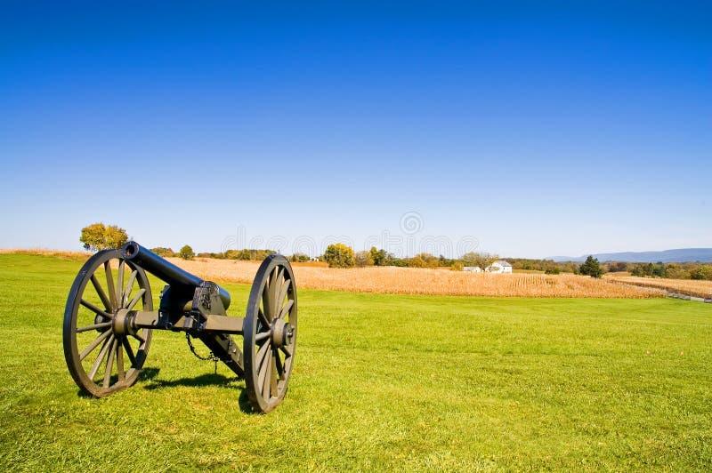 Cañón de la guerra civil en Antietam - imágenes de archivo libres de regalías