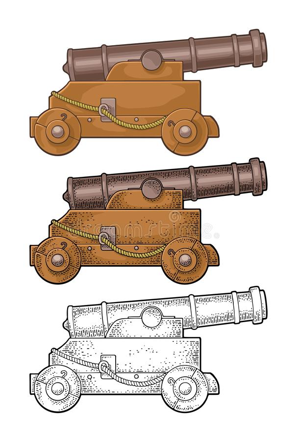 Cañón del arrabio en un carro de madera con las ruedas  Aislado en blanco libre illustration
