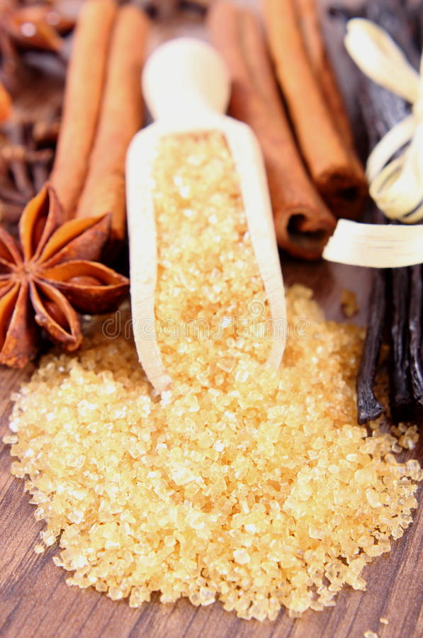 Caña de azúcar, vainilla, palillos de canela y anís de estrella en tablón superficial de madera imágenes de archivo libres de regalías