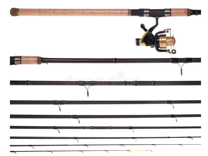 Caña de pescar, carrete, roto en las piezas (trayectoria de recortes) foto de archivo libre de regalías
