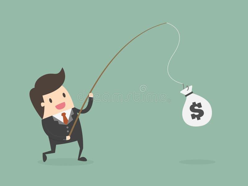 Caña de pescar de Catching Money With del hombre de negocios stock de ilustración