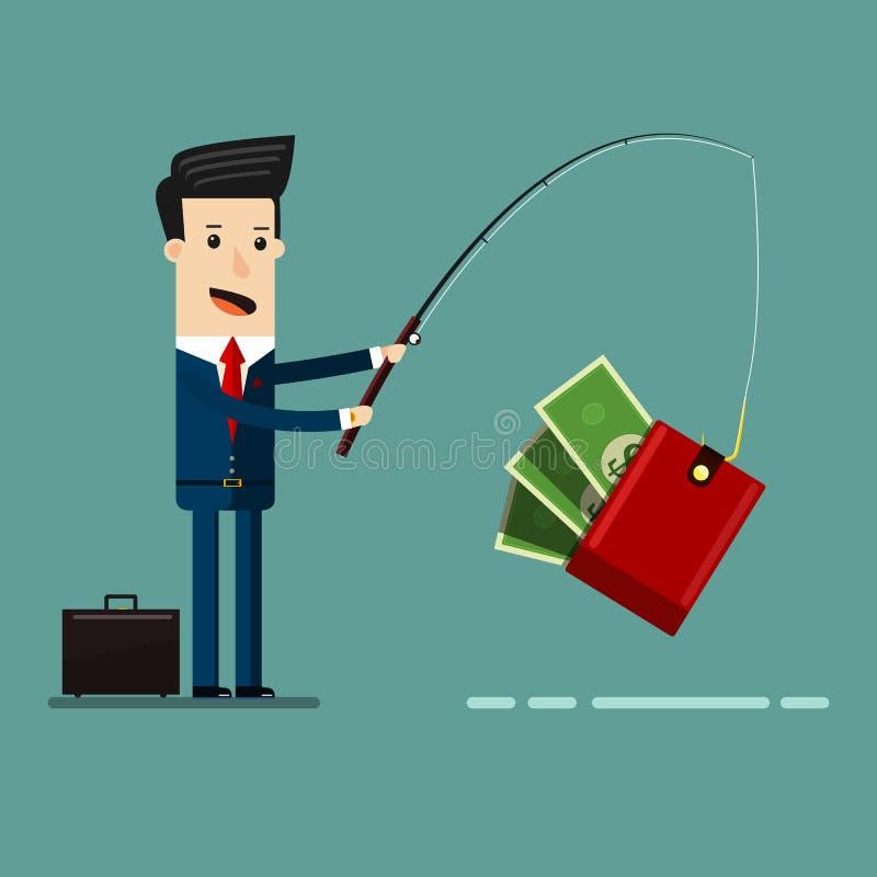 Caña de pescar de Catching Money With del hombre de negocios Ejemplo de la historieta del concepto del negocio stock de ilustración