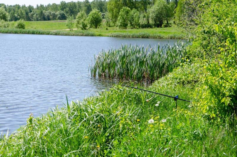 Caña de pescar en el lago del fondo foto de archivo