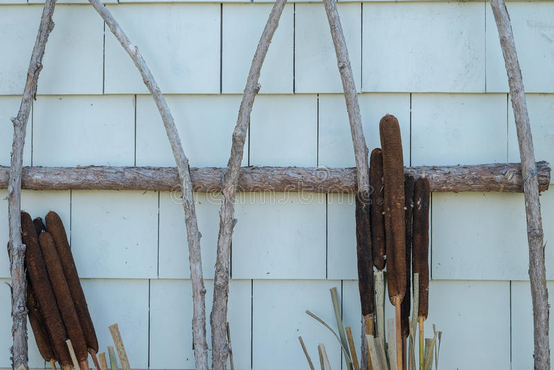 Cañas del río y una guirnalda usada como decoración en un hom de Nueva Inglaterra fotografía de archivo