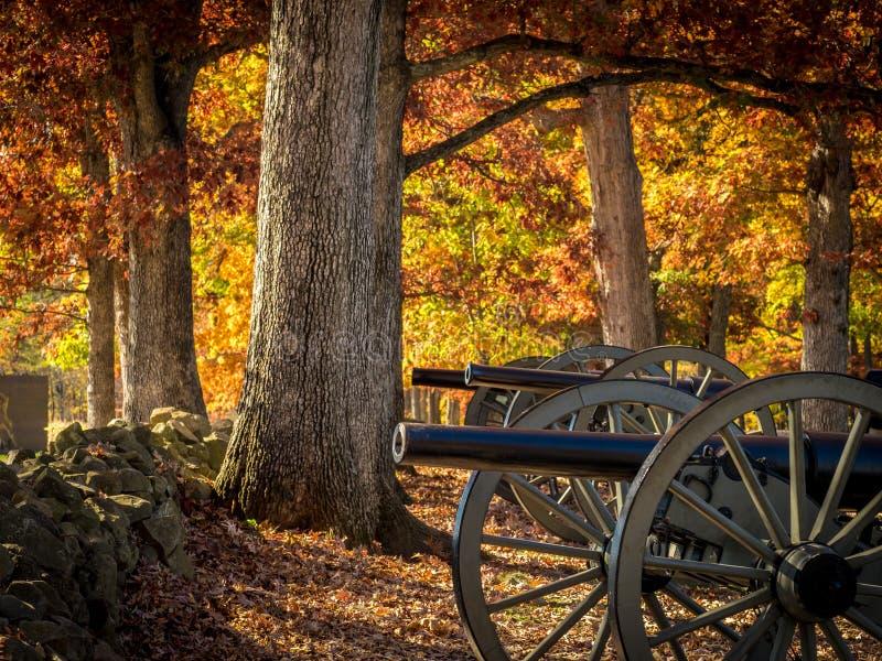 Cañones de la guerra civil en Autumn Setting fotografía de archivo libre de regalías