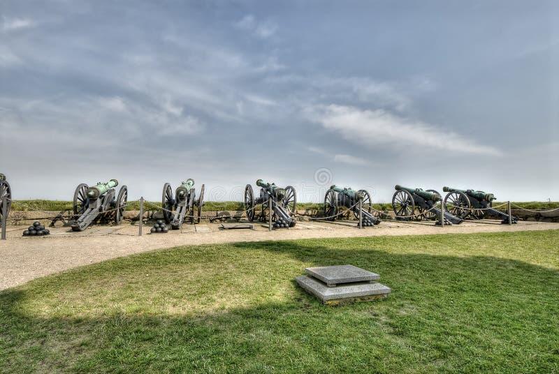 Cañones en el castillo de Hamlet de Kronborg fotos de archivo libres de regalías