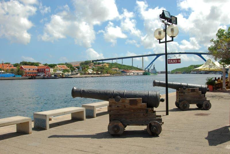 Cañones Willemstad Curaçao imagen de archivo libre de regalías