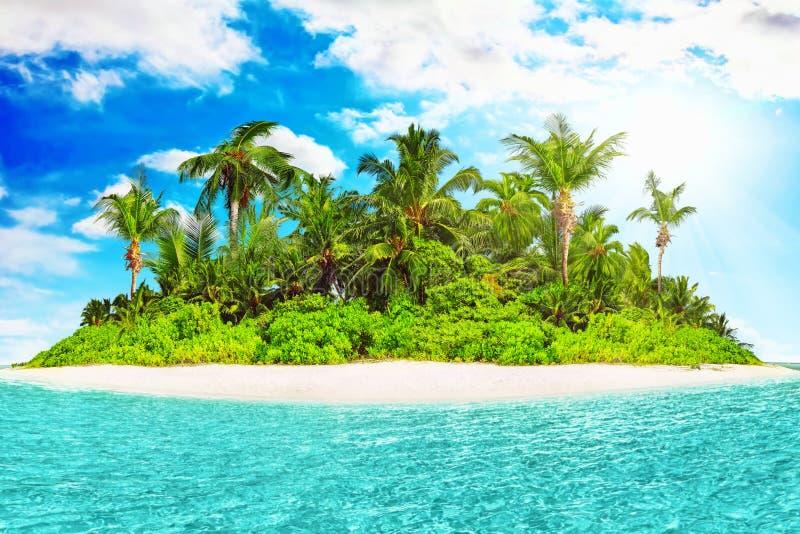 Cała tropikalna wyspa wśród atolu w tropikalnym oceanie fotografia stock