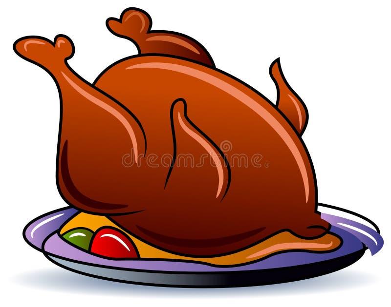 Całego kurczaka jedzenie royalty ilustracja