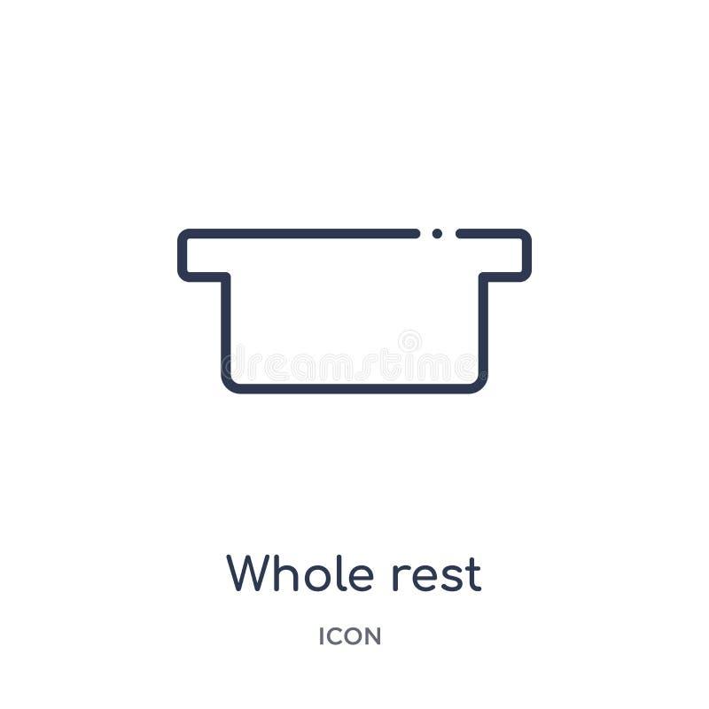 Całego odpoczynku ikona od muzyki i środki zarysowywamy kolekcję Cienieje kreskową całego odpoczynku ikonę odizolowywającą na bia royalty ilustracja