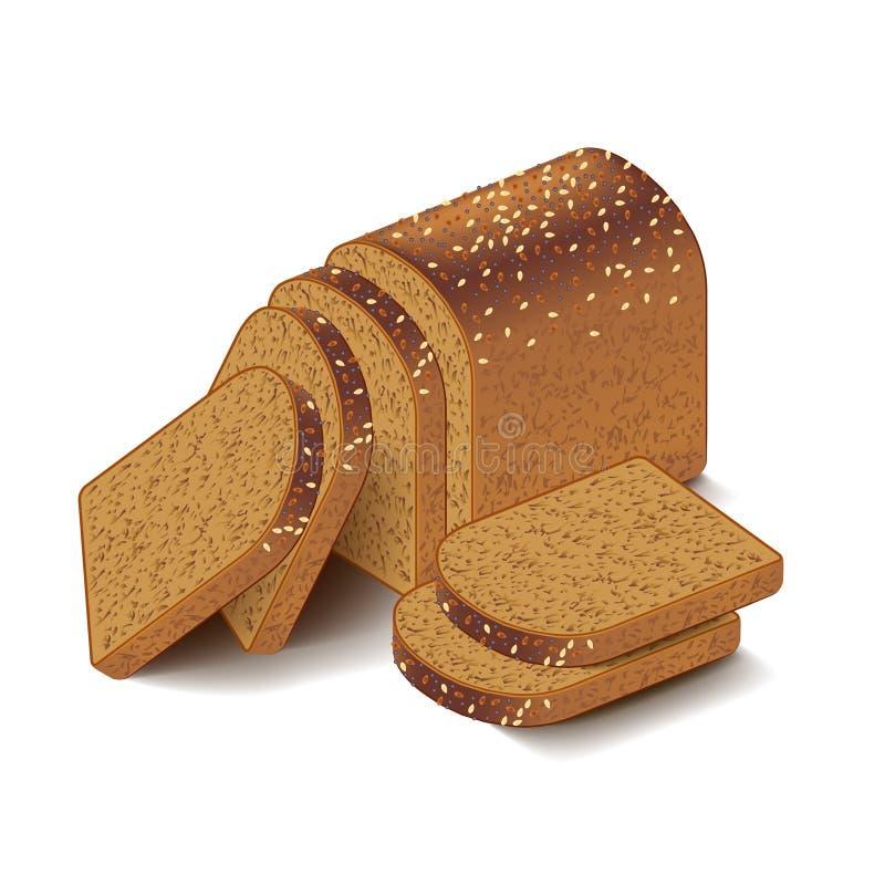 Całość adra pokrojonego chleba na białym wektorze ilustracja wektor