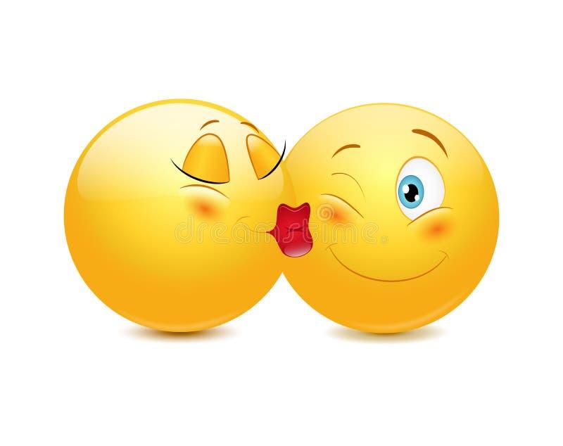 Całowań emoticons royalty ilustracja