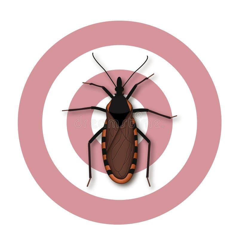 Całowanie pluskwa, Chagas choroba ilustracja wektor