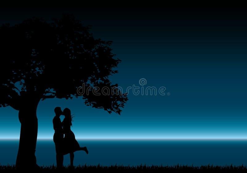 całowanie sylwetki ilustracja wektor