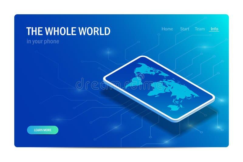 Cały świat w twój telefonie Poj?cie Światowa mapa na smartphone ekranie Wektorowa isometric ilustracja ilustracji