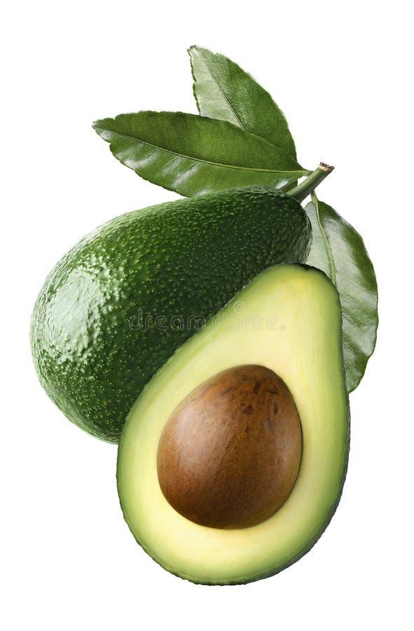 Cały avocado połówki ziarno opuszcza cięcie odizolowywa na białym tle zdjęcie royalty free