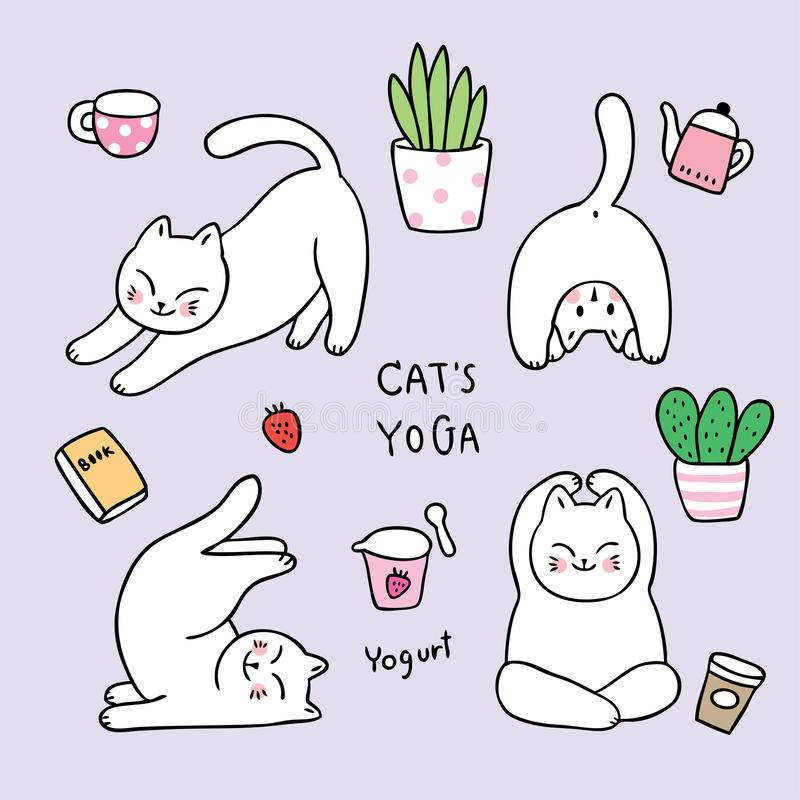 Cartoon cute doodle cats yoga relaxation . stock images