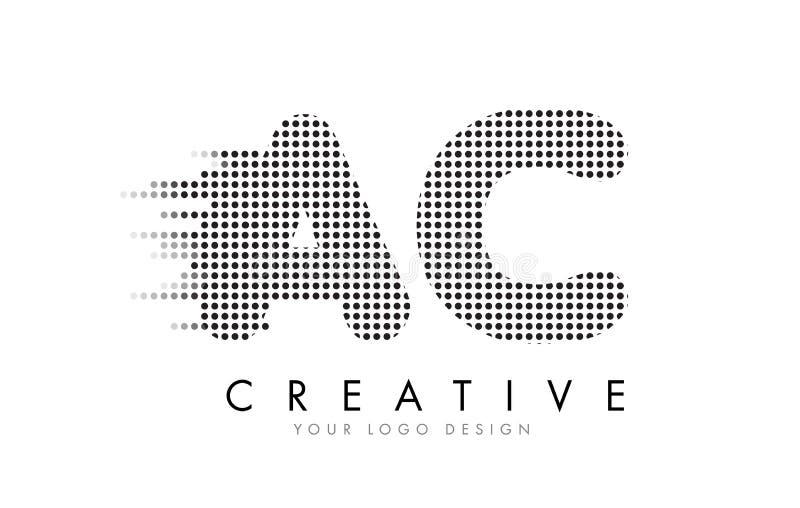 CA A.C. Letter Logo con los puntos y los rastros negros stock de ilustración