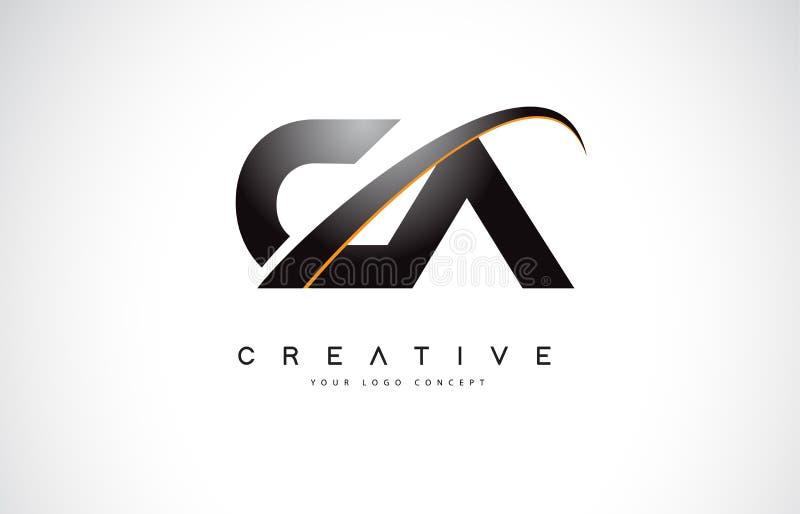CA C uma letra Logo Design do Swoosh com a curva amarela moderna do Swoosh ilustração stock