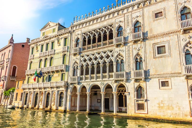 Ca` d`Oro Palace in Grand Canal of Venice, Italy stock images