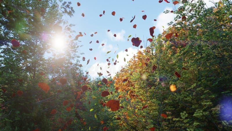 Ca?da de las hojas de oto?o de ?rboles en parque del oto?o Parque colorido del oto?o en un d?a soleado representaci?n 3d ilustración del vector