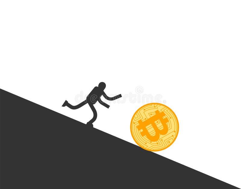 Ca?da de precios de Bitcoin Funcionamiento del hombre de negocios para el btc de la moneda El precio de Cryptocurrency retrocede  ilustración del vector