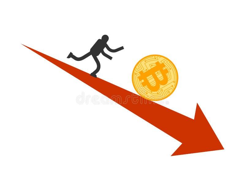 Ca?da de precios de Bitcoin Funcionamiento del hombre de negocios para el btc de la moneda El precio de Cryptocurrency retrocede  libre illustration