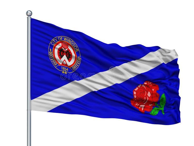 Ca en Windsor City Flag On Flagpole, Canadá, aislado en el fondo blanco ilustración del vector